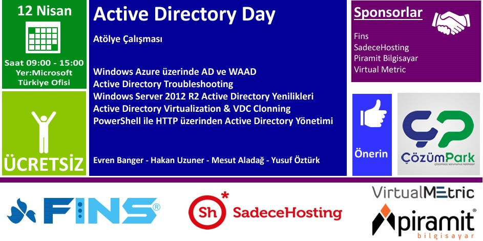 ÇözümPark – WorkShop – Active Directory Day – 12 Nisan Cumartesi