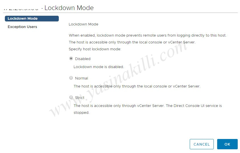 VMware vSphere 6.7 lockdown mode